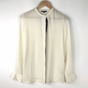 Vince 100% Silk White Blouse Top
